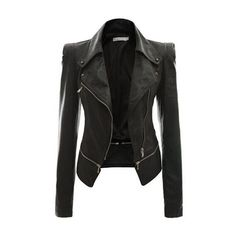 Rotita Black Long Sleeve Zipper Closure Jacket ($38) ❤ liked on Polyvore featuring outerwear, jackets, coats, black, leather jacket, faux jacket, black collared jacket, black zipper jacket and black jacket