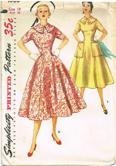 """Simplicity Pattern 1000 Misses' Princess Dress Pattern Dated 1954 Factory Folded and Unused Envelope Has a Small Stain Size 12 (30"""" Bust) We Sell the Best Original Vintage Sewing Patterns and Embroide"""