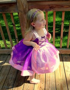 Princess Birthday Party, Rapunzel tutu dress: sparkle Purple lined with Pink Trim & straps, Easy on and Off for Disney Trip Birthday on Etsy, $44.95