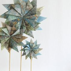 Original Map Paper Garden - Origami Sculpture - Geometric Home Decor - Recycled Book Paper - Paper Flowers - Paper Star Decorations