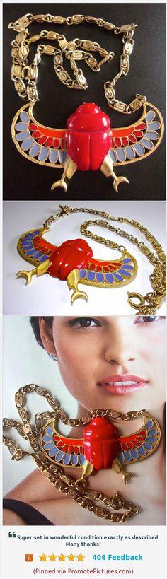 Egyptian Revival KRAMER Necklace, Red Scarab, Blue Wings, Enamel, Vintage https://www.etsy.com/renaissancefair/listing/522088265/egyptian-revival-kramer-necklace-red?ref=listings_manager_grid  (Pinned using https://PromotePictures.com)