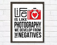 Camera Print, Quote Art, Inspirational Quote, Photography, Home Decor, Red, Black, Retro, Typography Poster on Etsy, $19.01 CAD