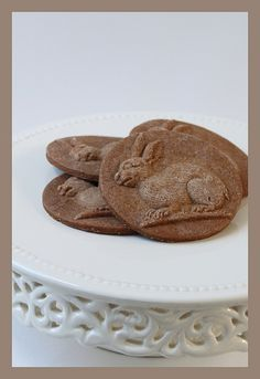 Gingerbread cookies, bunny, made with a Springerle mold.