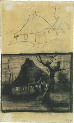 Vincent van Gogh: Two Studies of a Cottage Nuenen: April-early May, 1885 (Amsterdam, Van Gogh Museum)