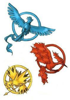 The Pokemon Games.  Legendary birds x Hunger Games
