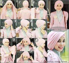 Tutorial Hijab Cantik Layering Turban Style