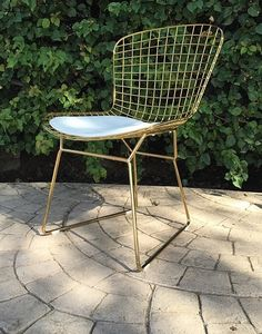 Bertoia Wire Side Chair In Gold Finish - Home and Office Furniture - Free Shipping