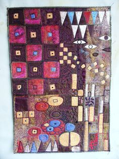 machine embroidery inspired by Klimt by Angie Hughes