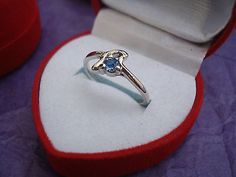 Blue Topaz & Silver Ring-Size 6 Heart Gift Boxed GREAT Gift STOCKING STUFFER!