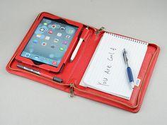 Red iPad Mini Portfolio with notepad holder iPad by leathercase