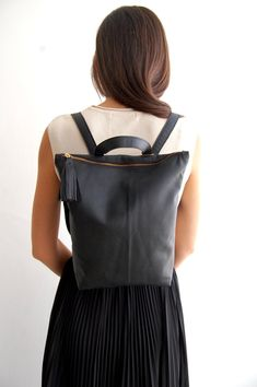 Black leather backpack school backpack by Albertinaboutique