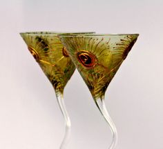 Peacock Martini Glasses Hand painted Set of 2 by NevenaArtGlass, $45.90