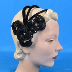Vintage 1940s 50s Black Velvet Evening Headband Hat with Sequins One Size #Hat http://stores.ebay.com/mmmosts-Old-time-Stuff-and-Threads