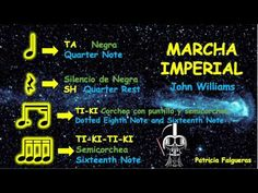 Corchea con puntillo y semicorchea - Marcha Imperial Ritmograma - YouTube Star Wars, Teaching, Activities, Youtube, Walking Gear, Primary Music, Musica, Sheet Music, Reading