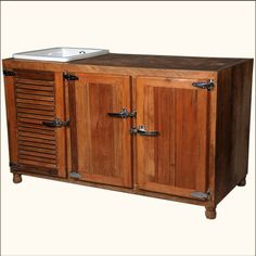 You'll be the talk of the town with this Mission Solid Wood & Ceramic Wine Rack Kitchen Sink Cabinet. Kitchen Buffet, Big Kitchen, Kitchen Sink, Buffet Cabinet, Kitchen Island, Kitchen Ideas, Wine Bottle Storage, Wine Rack Storage, Wine Racks