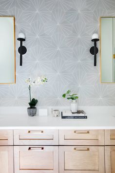 Nodes Sconce by Kelly Wearstler / Photography by Margaret Wright Living Room Grey, Living Room Bedroom, Beach House Bathroom, Guest Bathrooms, Transitional Bathroom, Wood Vanity, Open Plan Kitchen, Tile Patterns, Sconces