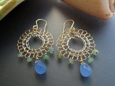 Wire Crochet Earrings  blue and green stones  by SerasiJewelry, $49.99