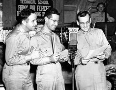U.S. Army Air Force Cpl. Broderick Crawfrod, Cpl. Ray McKinley and Capt. Glenn Miller jam for a serviceman's CBS wartime special, 1943. Crawford was assigned to the Armed Forces Network (AFN) and was sent to Britain in 1944. As a sergeant, he served as an announcer for the Glenn Miller American Big Band Orchestra.