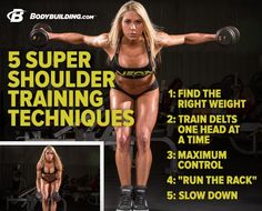 Here are some the techniques Ashley Hoffman uses to keep building her shoulders, and even a workout you can try for yourself. Ready, set, lift! http://Bodybuilding.com