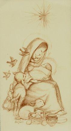 Nativity Scene of Mother Mary holding Jesus with lambs Christmas Nativity, A Christmas Story, Vintage Christmas, Catholic Art, Religious Art, Blessed Mother Mary, Mary And Jesus, Holy Mary, Jesus Pictures