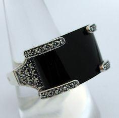 Bijoux Art Déco - Bague argent onyx marcassites 8 – Style Art Déco - Bijoux anciens Paris
