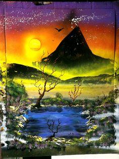 Sunset Desert Oasis by RS10SprayPaint on Etsy, $70.00