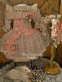 Stunning French Lace Bebe Costume with Bonnet http://www.dollshopsunited.com/stores/whendreamscometrue/items/1291234/Stunning-French-Lace-Bebe-Costume-Bonnet #dollshopsunited