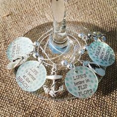 Life's A Beach Wine Glass Charms