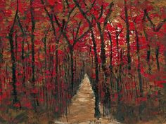 """The Path"" embellished giclees on canvas available Tree paintings modern artwork by B Renee Red gold and brown paintings"