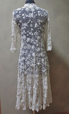 Edwardian-Irish-Crochet-Lace-Clones-Wedding-Dress-Coat-for-Restoration-or-Re-Use