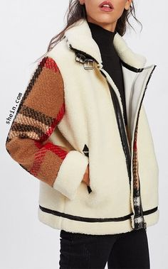 Кому идею? - Крой и шитье Tweed, Plaid Fashion, Autumn Fashion, Edgy Outfits, Fashion Outfits, Mode Mantel, Faux Shearling Jacket, Coats For Women, Clothes For Women