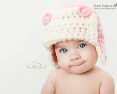 Crochet PATTERN  Baby Aviator Earlfap Hat Crochet por PoshPatterns, $3.99