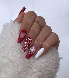 winter nails, winter nail colors, dark winter nails, winter nails winter nail designs winter nails colors, w Chistmas Nails, Xmas Nail Art, Cute Christmas Nails, Xmas Nails, Christmas Nail Art Designs, Winter Nail Designs, Red Nails, Christmas 2019, Christmas Crafts