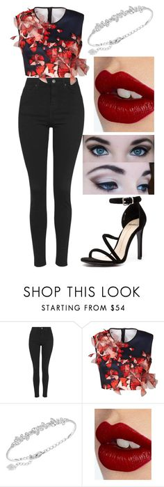 """Untitled #215"" by amymcwray ❤ liked on Polyvore featuring Topshop, Clover Canyon, Swarovski, Charlotte Tilbury and Mollini"