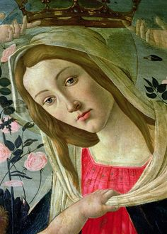 """fletchingarrows:  thatsantonio:  Sandro Botticelli, """"Madonna and Child Crowned by Angels"""" (detail).  a soft gaze"""