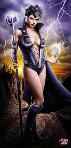 Stunning Female Superhero and Character Portraits by Jeff Chapman Great looking evilynn Comic Book Characters, Comic Character, Comic Books Art, Female Characters, Comic Art, Female Villains, Jeff Chapman, Master Of The Universe, Universe Art
