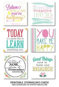 Free Printable Journal Cards - Collection 2 | 733blog.com                                                                                                                                                                                 More