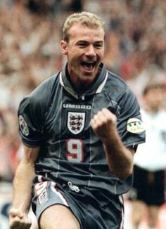 Alan Shearer celebrates his goal v Germany, Wembley, Euro 96