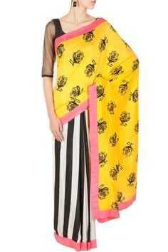 Half and half stripe and yellow rose sari BY MASABA Shop now at perniaspopupshop.com #perniaspopupshop #clothes #womensfashion #love #indiandesigner #MASABA #happyshopping #sexy #chic #fabulous #PerniasPopUpShop #quirky #fun