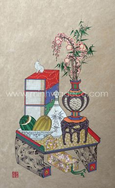 Chinese Brush, Korean Art, Japan Art, Chinoiserie, Still Life, Folk Art, Oriental, Decorative Boxes, Birds