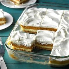 Layered Pumpkin Dessert Recipe -Pretty layers of cheesecake and pumpkin star in this prize-winning torte. Not too heavy, it's especially nice with a big holiday meal. There's never a morsel left!—Ruth Ann Stelfox, Raymond, Alberta