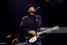 British pop musician Maurice Gibb (1949 - 2003) of the group the Bee Gees performs on stage at the Poplar Creek Music Theater, Hoffman Estates, Illinois, July 31, 1989.