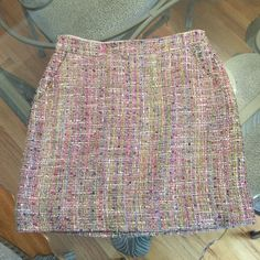 J. Crew Postage Stamp Mini in Confetti Tweed sz 2 J. Crew multi-colored mini skirt in confetti tweed, size 2. Subtle A-line with back zipper. Fully lined, 17 inches long, viscose, cotton and silk blend. Please ask if you have any questions. J. Crew Skirts