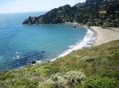 Muir Beach.  When you look out at the ocean, to the left you will see a wall of smallboulders and rocks.  If you have a dog that doesn't listen when you tell him to stop and he leads you there - be prepared for a nudist beach.  Yep, thank you Toby!