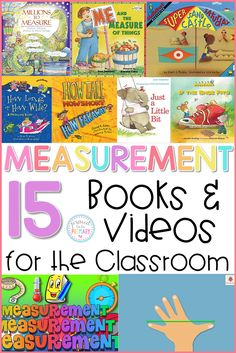 A list of the best children's books and videos for teaching measurement in the primary classroom. Students will enjoy learning this important math skill with these top choices. Perfect for prek kindergarten and first grade teachers! Measurement Kindergarten, Measurement Activities, Math Measurement, Kindergarten Math, Teaching Math, Math Activities, Math Games, First Grade Measurement, Math Fractions