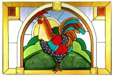 """Rooster Horizontal Art Glass Panel Wall Hanging Suncatcher 14 x 20 by eEarthExchange. $65.75. ** ** SHIPS UPS - Order BY DECEMBER 13 for CHRISTMAS DELIVERY ** **. Hooks are included for immediate placement. Ships within 5 business days. 14""""H x 20.5""""W. Painted Glass, Made in the USA!!. Our magnificent rooster, hand-painted here in stunning crystalline colors, crows proudly from his hilltop in this folksy panel! This top quality horizontal window or wall hanging feature..."""