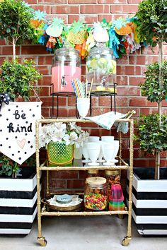 Note the brass tray with napkins (have one of those). Beverage Cart Outdoor Serving Station