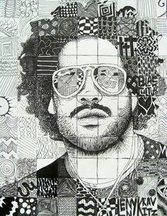 Studio Art I Pen & Ink Doodle Portraits - Conway High School Art Project Black History Month, Middle School Art, Art School, High School Drawing, High School Art Projects, Ink Doodles, Ecole Art, Drawing Projects, Texture Art Projects