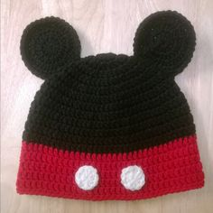 b5b0580a9b1 Crocheted Mickey Mouse Hat by HooksandNeedles2 on Etsy