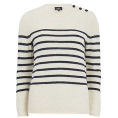A.P.C. Women s Stripe Jumper - Blanc Casse ( 260) ❤ liked on Polyvore  featuring tops 8e38dcba32070